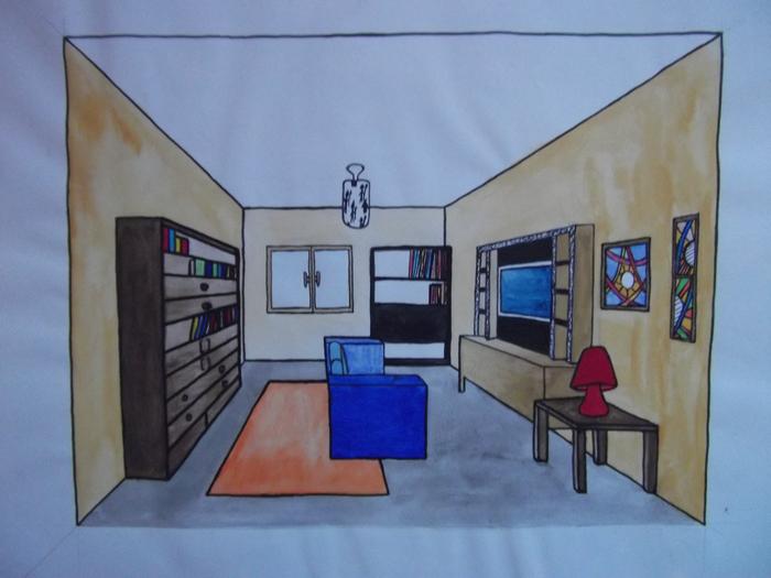 Dessiner Un Salon En Perspective. Free Lundi Mars With Dessin En ...